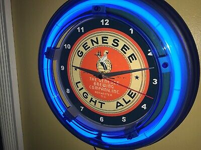 Genesee Light Ale Beer Bar Man Cave Advertising Blue Neon Wall Clock Sign