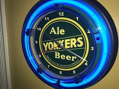Yonkers Ale New York Beer Bar Man Cave Advertising Blue Neon Wall Clock Sign
