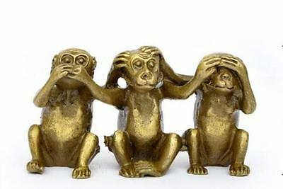 Exquisite Old  Brass See Speak Hear No Evil 3 Monkey Small Statues YTR