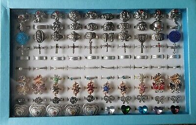 Bulk Lot of 100 Rings in Display Box Mixed Sizes Styles Silver Metal Alloy NEW