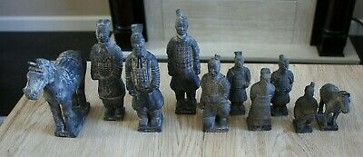 Terracotta CHINESE WARRIORS & HORSES Set of 10 Figurines  Early Reproduction