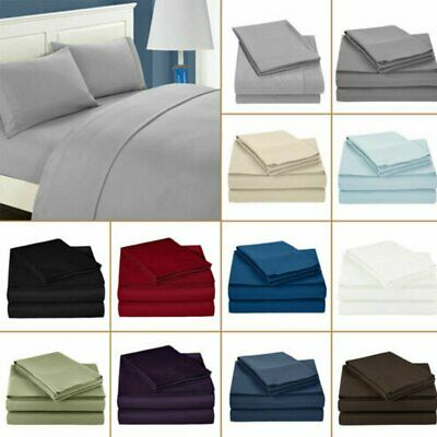 Double/Queen/King Size 1000 Count 3/4 Piece Bed Sheet Set Flat Fitted Sheets AU