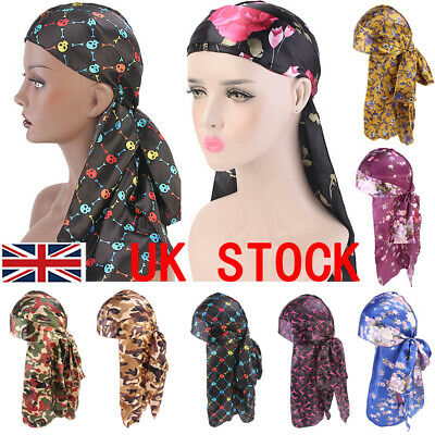 Men Women Unisex Breathable Bandana Hat Durag Long Headwrap Chemo Cap UK