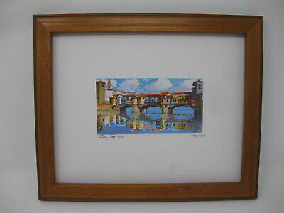Original Watercolor Painting Florence Arno Ponte Vecchio 10x8 Framed SIGNED
