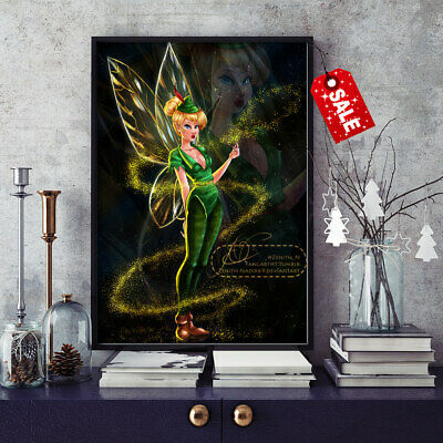 Art Print Canvas Painting Disney Tinkerbell Family Home Wall Decor Modern 12x16
