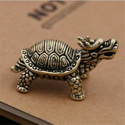 China Old Collectibles Pure brass dragon turtle small statue NEW