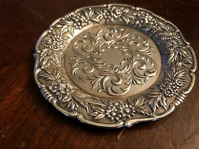 """Antique S.kirk & Son #27 F Sterling Silver Small Plate 4"""" Repousse 55.3 Gr"""