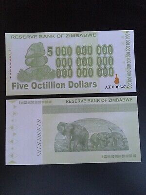Zimbabwe 100 Trillion Dollars, 5 Octillion Series,  2008 P-91c  Lot Of 10 Notes