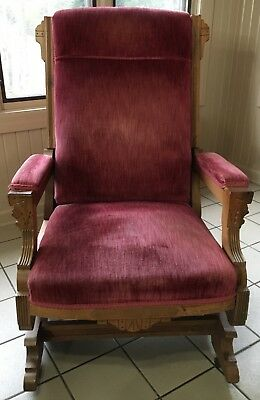 Miraculous Antique Carved Victorian Platform Rocking Chair Mauve Velvet Gmtry Best Dining Table And Chair Ideas Images Gmtryco