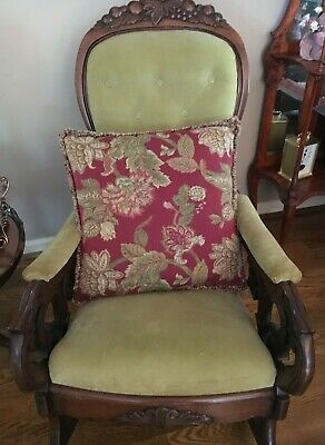 Antique Carved Lincoln Rocking Chair