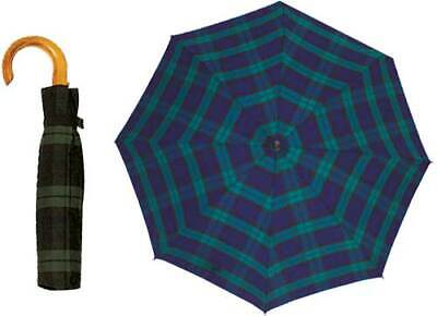 Shelta Mens Compact Rain Sun Umbrella - 6900 Auto Open Tartan Wood Crook Handle