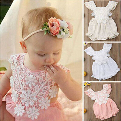 Newborn Infant Baby Girl Floral Romper Lacing Jumpsuit Bodysuit Outfits Clothes