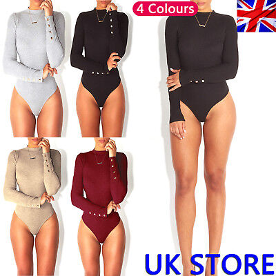 Women Long Sleeve Bodysuit Stretch Leotard Body Tops Jumpsuit Fast&Free Delivery