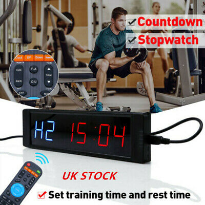 UK Interval Timer Remote Controller Stopwatch Gym Fitness Sport Countdown Clock
