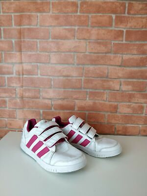 Girl's Kids Adidas Eco White And Pink Strap Fasten Trainers Uk 4 Eu 36.6 Shoes