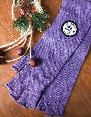 Womens Ladies Winter 100% Wool Fingerless Half Finger Long Gloves Soft Purple