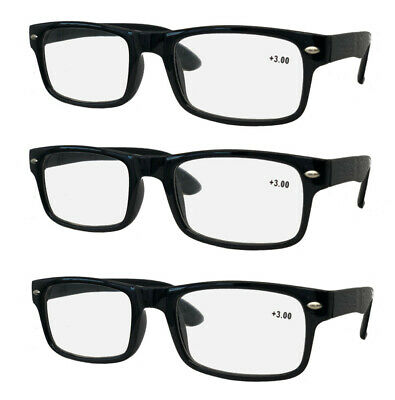 PACK OF 3 Wayfarer Style Reading Glasses, Designer, + 1 1.5 2 2.5 3 3.5 4
