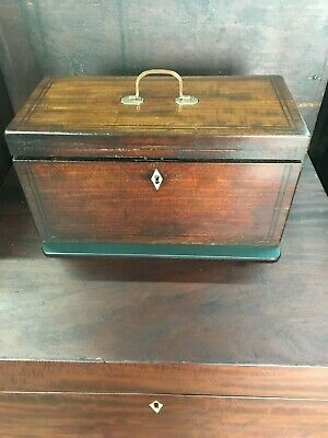 Mid To Late 19th Century Mahogany Tea Caddy With Copper Carrying Handle