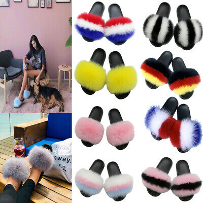 100% Real Fur Ladies Flat Shoes Fluffy Flip Flop Slippers Women Sliders Sandals