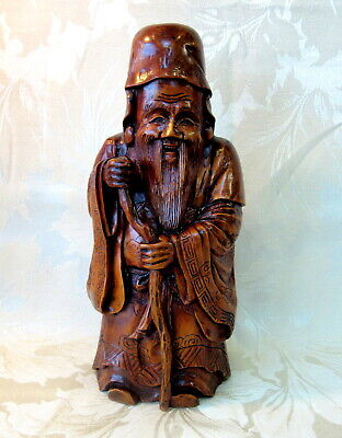 Superb! Antique Large Heavy Oriental WOOD CARVING of Chinese Immortal with Beard