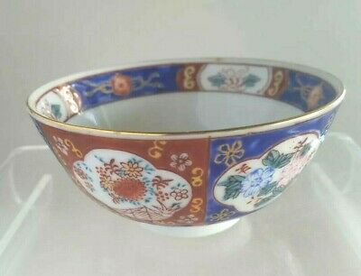 Japanese Imari  rice bowl no mark Hand painted Blue red Gold details