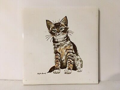Screencraft Phyllis Howard Tile Trivet Vtg Orange Tabby Cat Kitten 6""