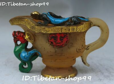 Old China Glaze Glass Painting Dragon Pixiu Brave Troops Beast Cup Cups