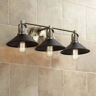 "Industrial Wall Light Brass Black 27"" 3-Light Fixture for Bathroom Vanity Mirror"