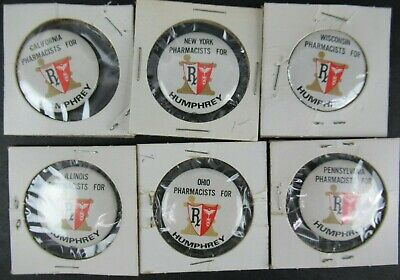 "PHARMACISTS FOR HUMPHREY 1968 POLITICAL BUTTONS (LOT OF 6) approx 1 1/4"" diam"