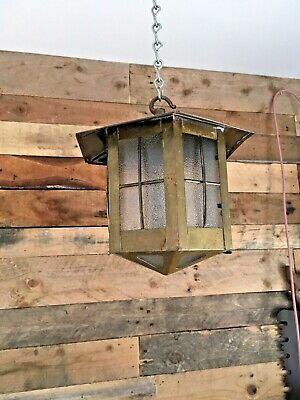 Antique Art Nouveau / Arts & Crafts Brass & Glass Porch Lantern Lamp Hall Light