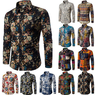 Luxury Mens Blouse Tops Floral Long Sleeve Shirts Dress Slim Fit Shirt Casual
