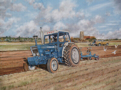 Ford 7600 Tractor, Ransomes TSR 108 Plough, Range Rover - Print by Steven Binks