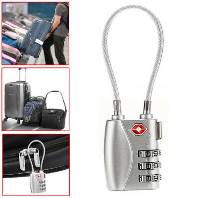TSA Security 3 Digit Combination Travel Suitcase Luggage Bag Code Padlock Silver