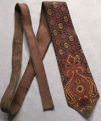 Vintage Tie MENS Suede Leather Necktie 1960s 1970s RED YELLOW Psychedelic Mod