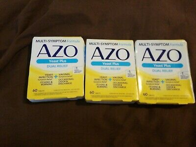 AZO Yeast Plus Dual Relief Multi-Symptom Formula Tablets 60 ct (Pack of 3) 11/19