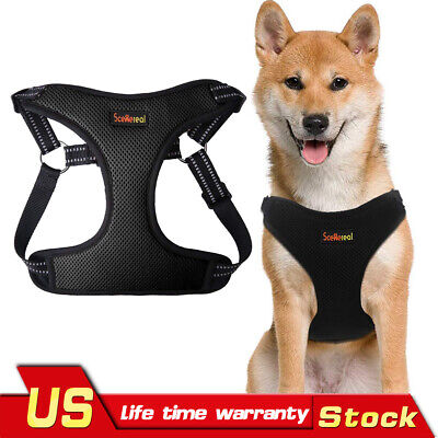 Dog Harness Escape Proof Mesh Harness Adjustable Vest with Reflective Strap
