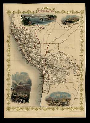 Peru & Bolivia South America 1855 Tallis Rapkin Winkles decorative vignettes map