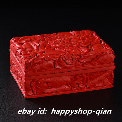Chinese Red Lacquerware Carving Tree Peony Flower Storage Box Business Card Case