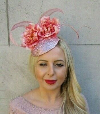 Rose Gold Coral Peach Pink Peony Flower Sequin Hat Hair Fascinator Races 7316