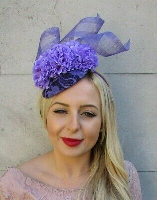 Dark Purple Lavender Lilac Flower Hat Fascinator Races Hair Wedding Floral 7317
