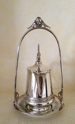 Antique Simpson, Hall, Miller + Co. Silverplate Creamer + Stand