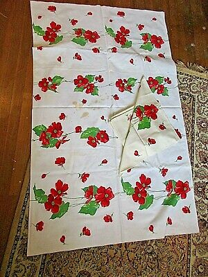 Vintage 50's Bright Red Wild Roses Cotton Tablecloth & 6 Napkins