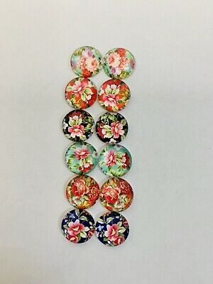 6 Pairs Of 12mm Glass Cabochons #1014