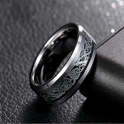 Unique Men's Silver Celtic Dragon Titanium Stainless Steel Wedding Band Rings