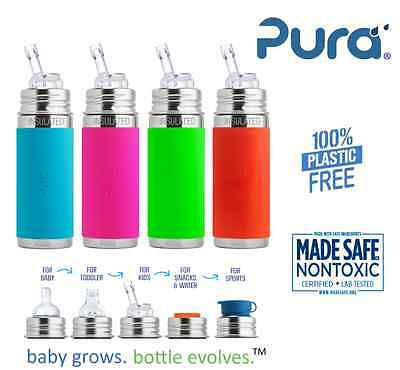 NEW Pura Kiki Stainless Steel Toddler Baby Insulated Straw Bottle 9oz W/ Cover