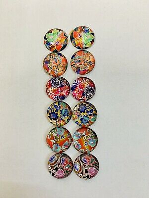 6 Pairs Of 12mm Glass Cabochons #1019