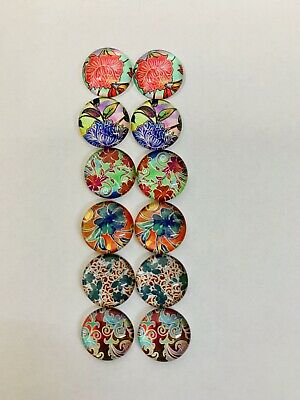 6 Pairs Of 12mm Glass Cabochons #1020
