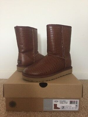 7485b21abaf UGG AUSTRALIA AVIVA EMBOSSED CROCODILE BLACK LEATHER SHORT BOOT Gold ...