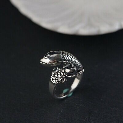 925 Sterling Silver cute fish men women ring rings adjustable size S3928