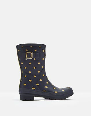 Joules 207363 Mid Height Wellies in FRENCH NAVY AND GOLD SPOT